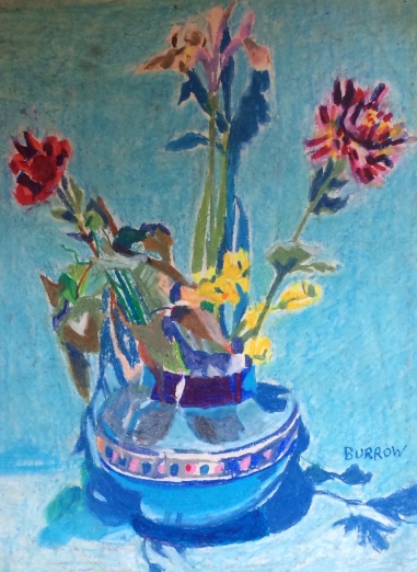 vase-flowers-blue-background
