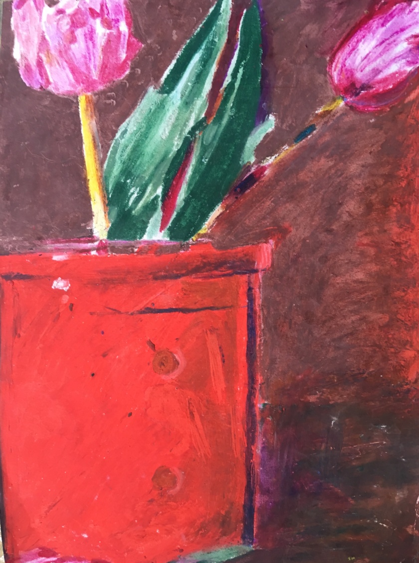 Tulips in Red Pot